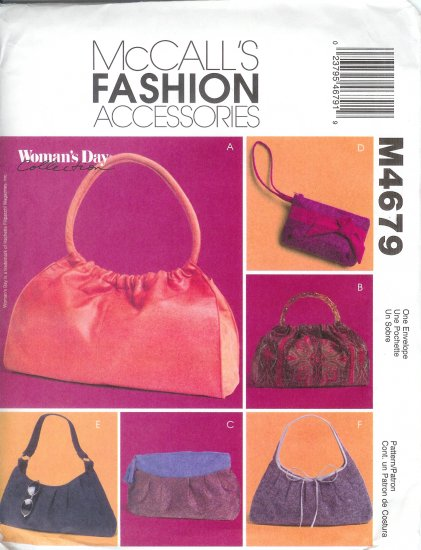 M4679 McCalls Pattern FASHION ACCESSORIES   Soft Handbags