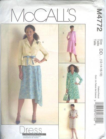 M4772 McCalls Pattern Jacket , Dress, and Skirt Misses/Miss Petite  Size DD 12-14-16-18