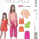 M4819 McCall Pattern EASY ENDLESS OPTIONS Poncho Tops Shorts Capri Pants  Childs/Girls Size 7-8-10