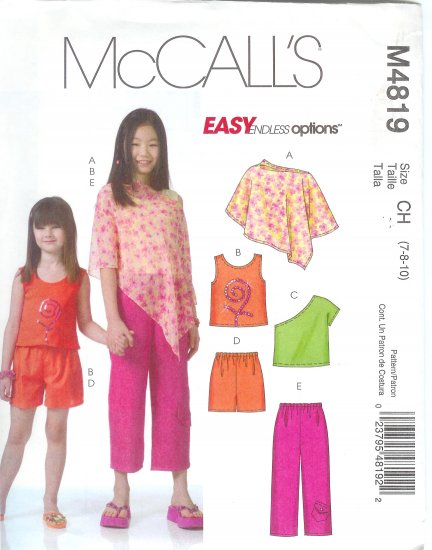 M4819 McCall Pattern EASY ENDLESS OPTIONS Poncho Tops Shorts Capri Pants Childs/Girls Size 10-12-14