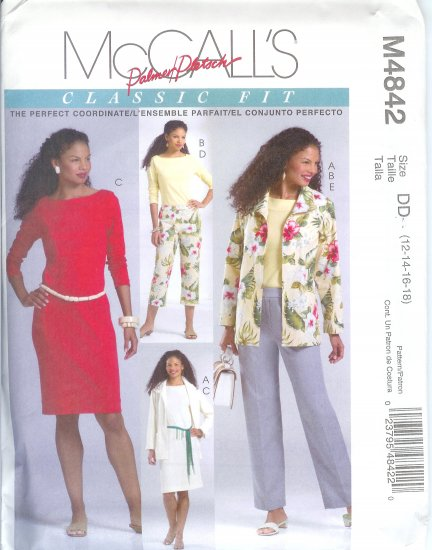 M4842 McCalls PALMER PLETSCH Jacket, Top, Dress & Pants in Two Lengths Misses Size BB 8-14