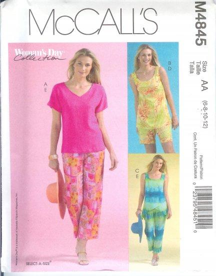 M4845 McCalls Pattern WOMANS DAY Tops, Shorts, & Capri Pants Misses Size AA 6-8-10-12