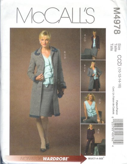 M4978 McCalls NON-STOP WARDROBE Lined Jacket  Two Lengths,Tops,Skirt & Pants Misses Size 8-10-12-14