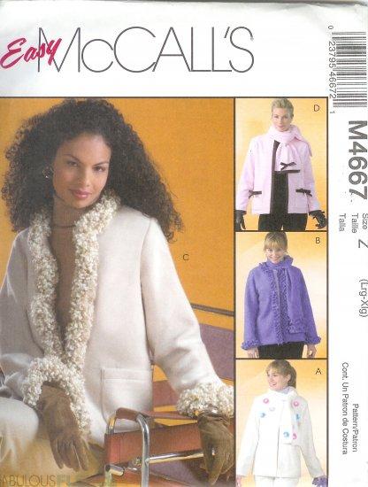 M4667 McCalls Pattern FABULOUS FLEECE Jacket & Scarves Misses Size Z  L, XL