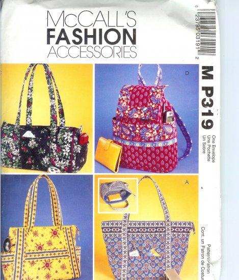 MP319 McCalls Pattern FASHION ACCESSORIES Misses Handbags