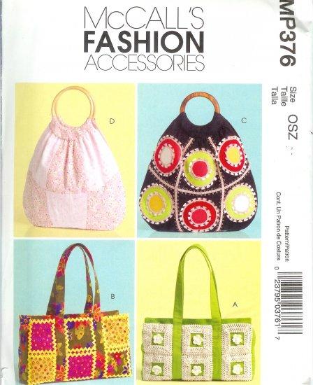 MP376 McCalls Pattern FASHION ACCESSORIES Handbags