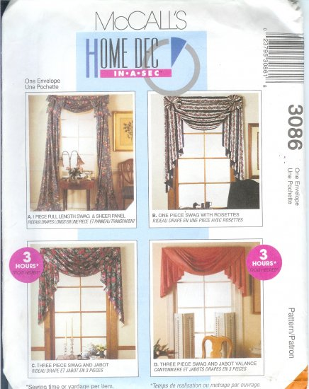 """M3086 McCall Pattern HOME DECOR """"IN A SEC"""" Window Treatments"""