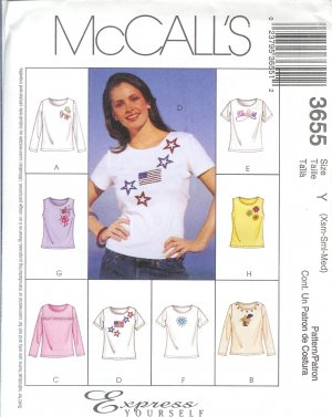 M3655 McCalls Pattern EXPRESS YOURSELF Tops Misses Size Z   L, XL