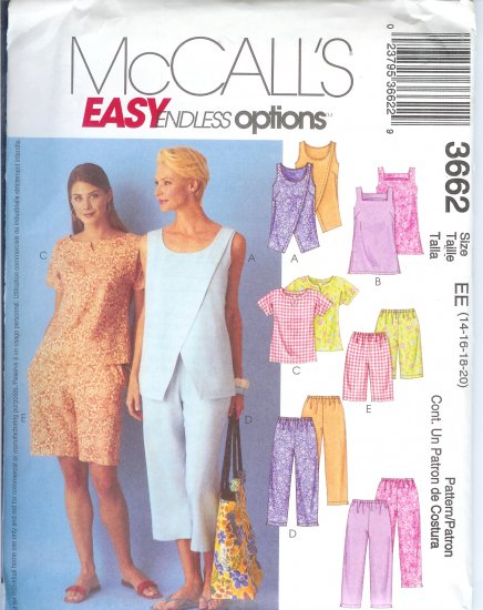 M3662 McCalls  EASY ENDLESS OPTIONS Tops Tunic Pull-on Capri Pants Shorts Misses/Miss Petite  14-20
