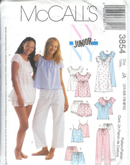 "M3854 McCalls Pattern ""NY JR"" Nightgowns Tops Camisoles shorts Pants & Bloomers Junior JA  3/4-9/10"