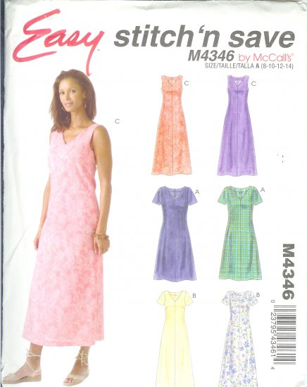 M4346 McCalls EASY STITCH N SAVE Dress in 2 Lengths Misses/Miss Petite  Size A 8-10-12-14