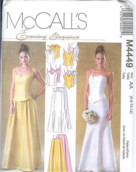 **SOLD***M4449 McCalls Pattern EVENING ELEGANCE Tops & Skirts  Misses/Miss Petite EE 14-16-18-20