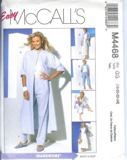 M4468 McCalls Pattern Duster or Shirt Top, Bias Skirt & Pants 2 Lengths Misses/Miss Petite Size10-16