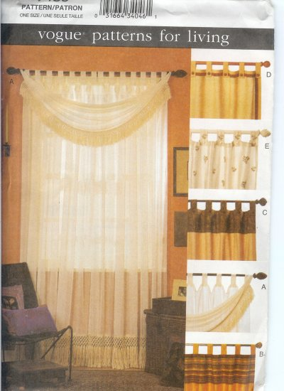 V7489 Vogue Pattern for Living Tab Curtains