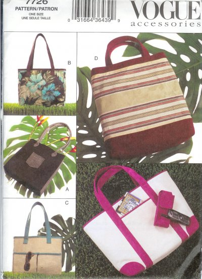 V7726 Vogue Pattern Accessories Tote Bags and Cell Phone Case