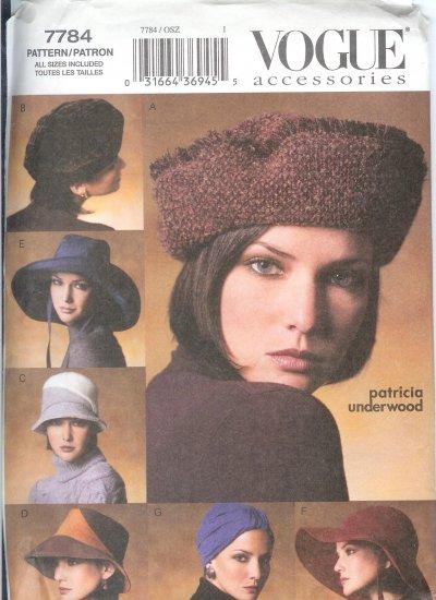 V7784 Vogue Pattern Accessories Misses Hats