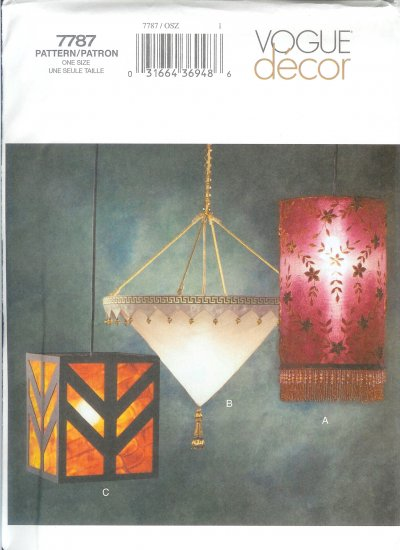 V7787 Vogue Pattern Decor Fabric Lamps