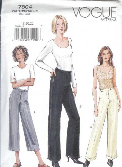 V7804 Vogue Pattern Pants Misses/Miss Petite  Size 12, 14, 16