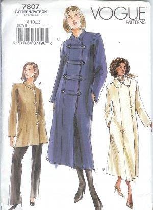 V7807 Vogue Pattern Coat Misses/Miss Petite Size 14, 16,18