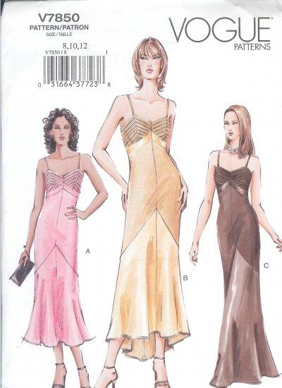 V7850 Vogue Pattern Dress Misses/Miss Petite Size 14, 16, 18