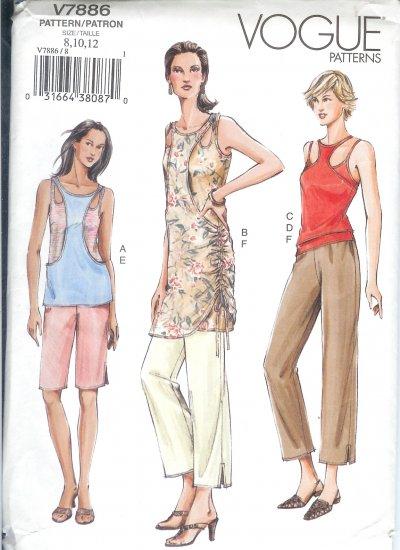 V7886 Vogue Pattern Top, Dress, tank, Top, Camisole, Shorts, Pants Misses/Miss Petite 8-12