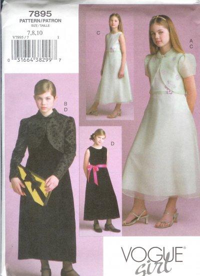 V7895 Vogue Pattern VOGUE GIRL Jacket, Dress Girl Size 7,8,10