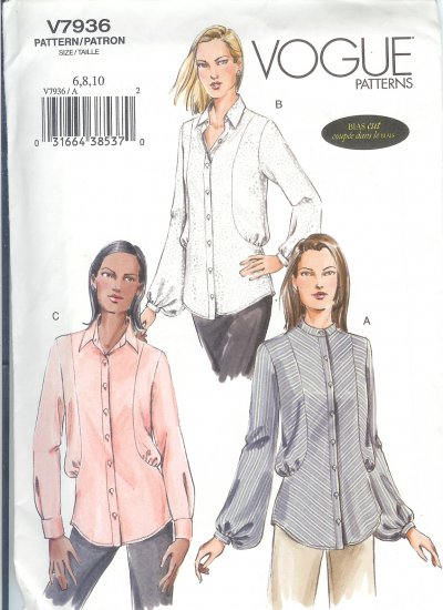 V7936 Vogue Pattern Shirts Misses Size 18, 20, 22