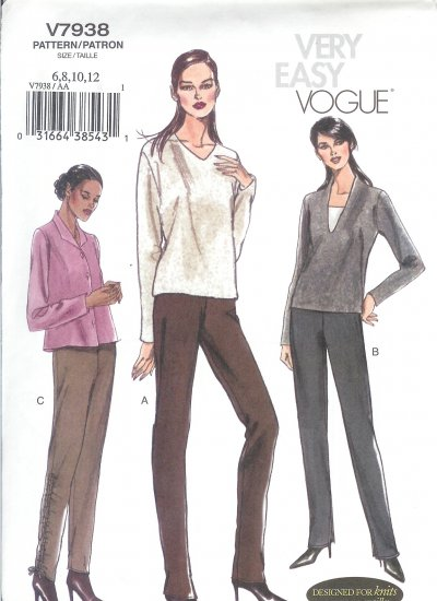 V7938 Vogue Pattern VERY EASY Pants Misses Size 6, 8, 10, 12