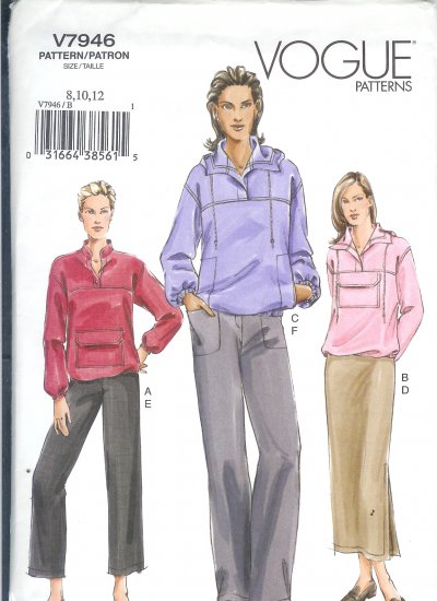 V7946 Vogue Pattern Top, Skirt, Pants Misses Size 14, 16, 18