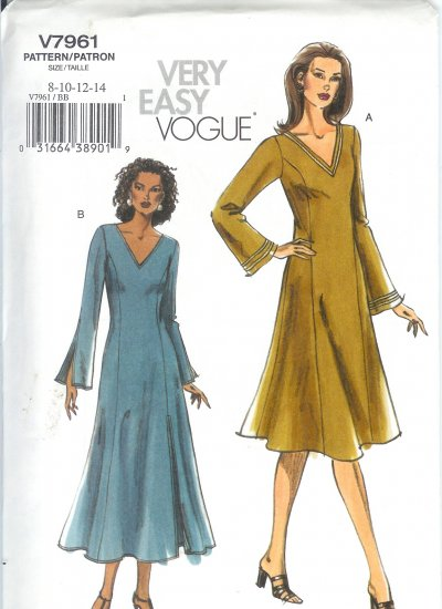V7961 Vogue Pattern VERY EASY Dress Misses/Miss Petite Size 8-10-12-14