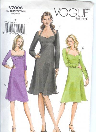V7996 Vogue Pattern Dresses Misses/Miss Petite Size FW 18-20-22