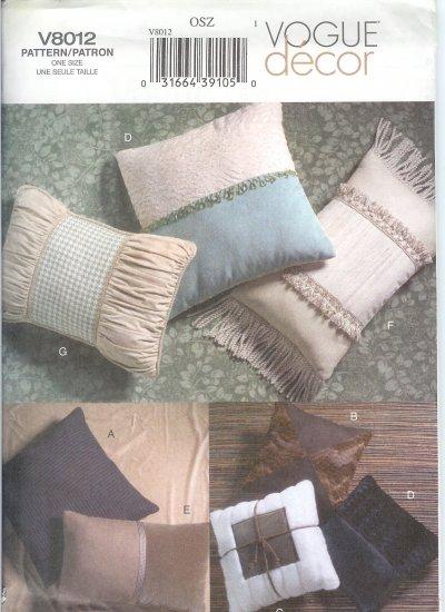 V8012 Vogue Pattern Decor Designer Pillows
