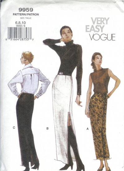 V9959 Vogue Pattern VERY EASY Skirt Misses/Miss Petite Size 6,8,10