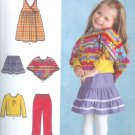 S4437 Simplicity Pants, Skirt, Jumper, Poncho, Knit Top Toddler Size 1/2-4