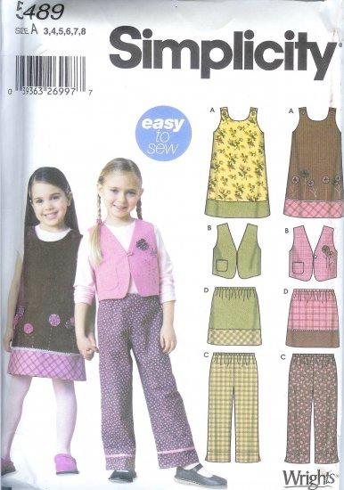 S5489 Simplicity Pattern EASY Jumper, Vest, Pants, Skirt Girls Size A 3,4,6,8