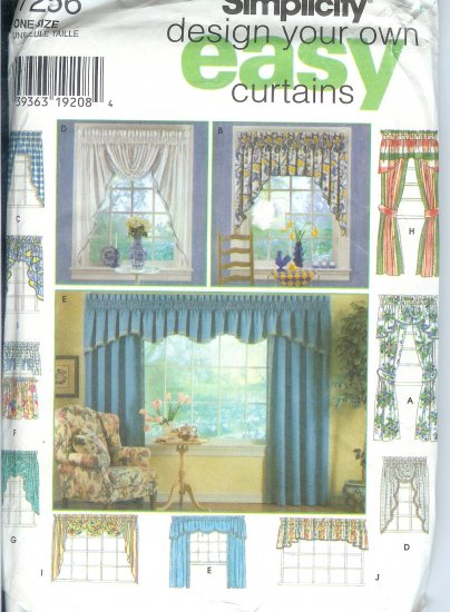 S7256 Simplicity Pattern Design Your Own EASY Curtains