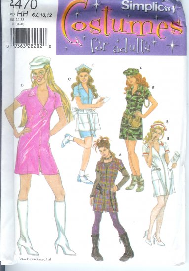 S4470 Simplicity Pattern Costumes for Adults Misses Size HH 6,8,10,12