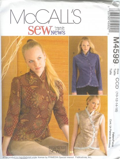 M4599 McCalls Pattern Unlined Vest and Jacket in Two Length Misses Size FF 16,18,20,22