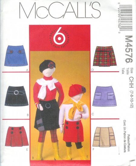 """M4576 McCall Pattern """"6 Great Looks in 1 Pattern"""" Skorts Childs / Girls Size CCE 3-4-6"""