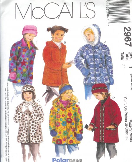 M2967 McCall Pattern POLAR GEAR Jacket, Hat, Headband, Mittens Girls Child Size Y XSmall-Small