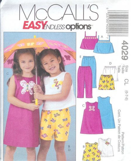 M4029 McCall EASY ENDLESS OPTIONS Tops, Dress, Shorts, Pants Girl Child Size CL 6-7-8