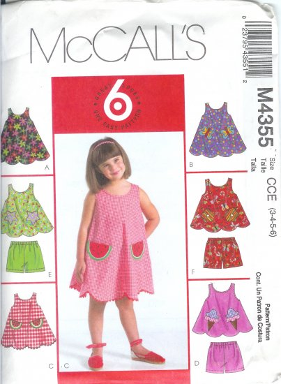 M4355 McCall 6 GREAT LOOKS Dress, Top, Shorts Girl Child Size CCE 3-6