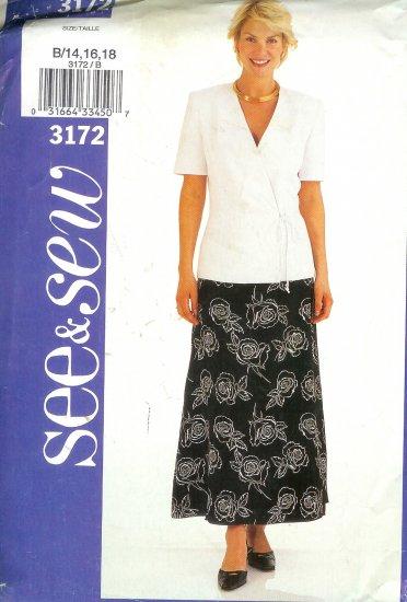 B3172 Butterick Pattern SEE & SEW Jacket, Skirt Misses/Miss Petite Size B 14, 16,18
