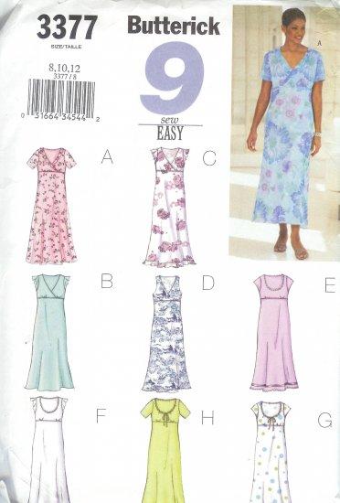 B3377 Butterick Pattern 9 EASY SEW Dress Misses/Miss Petite Size 8, 10, 12