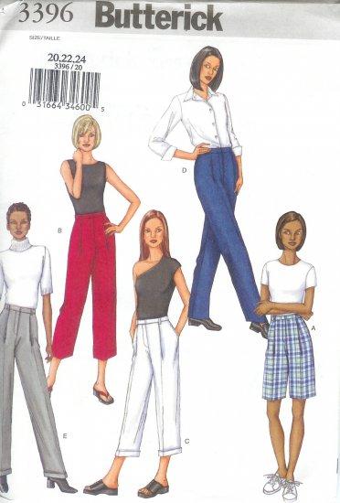 B3396 Butterick Pattern Shorts, Pants Misses/Miss Petite Size 20, 22, 24