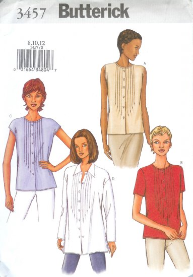 B3457 Butterick Pattern EASY Top Misses Size 8, 10, 12