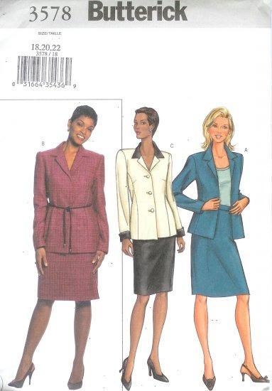 B3578 Butterick Pattern EASY Jacket, Skirt Misses/Miss Petite Size 18, 20, 22