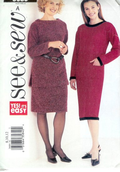 B3689 Butterick Pattern VERY EASY SEE & SEW Misses Size A 8, 10, 12