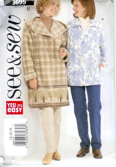 B3695 Butterick Pattern VERY EASY SEE & SEW Jacket Misses Size B 14, 16, 18