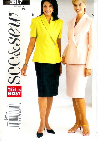 B3817 Butterick Pattern EASY SEE & SEW Top, Skirt Misses/Miss Petite Size A 8, 10, 12
